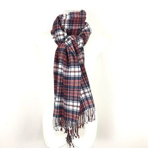 GAP Plaid scarf rectangle fringe hem Red Blue